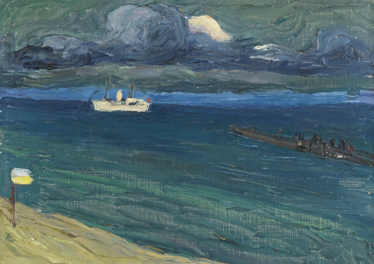 """kundst: """"Wassily Kandinsky (Rus. 1866-1944) Rapallo, Seascape with Steamer (1906) """""""