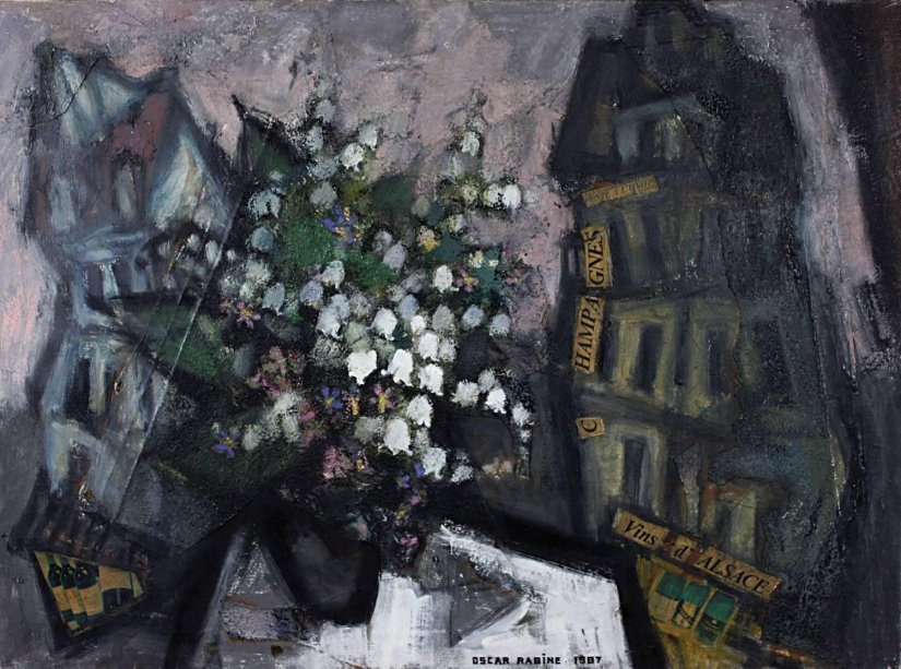"lilithsplace: ""Bouquet of Flowers in an Urban Landscape, 1987 - Oskar Rabin (b. 1928) oil on canvas 
