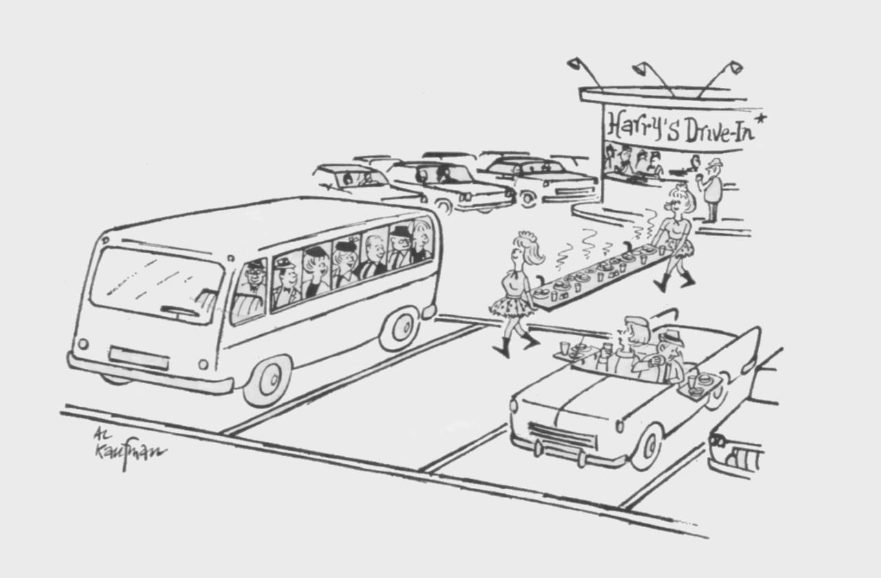Curbside Service, 1966 Cartoon Illustration