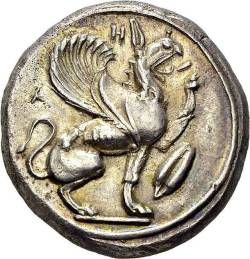 """numissearch-club:Teos. Silver stater, 460-450 BC. Obv. T-H-I above a griffin seated to right, raising its left foreleg, both wings displayed, a seed of barley on the right. Rev. Quadripartite incuse square. J.M. Balcer, """"The early silver coinage of Teos"""", SNR 47,1968, p. 37, n° 84 (sames dies); De Luynes 2667. AR. 12.08 g.Nice AUEx. Tkalec auction 1, february 2001, lot 128.(via Numissearch.com - Antike - Griechen - Ionien)"""