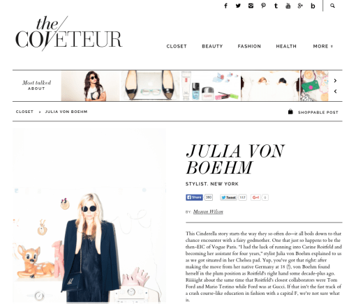 Julia von Boehm featured on The Coveteur! Read the article here.