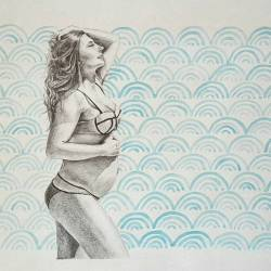 Finally finished a drawing for a friend, celebrating her awesome lil baby bump.