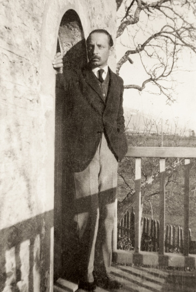 Rainer Maria Rilke on the balcony at Muzot.