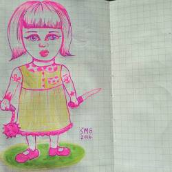 Pink evil babygirl #doodle #perthcreatives #perthartist #inkdrawing #lowbrow #art