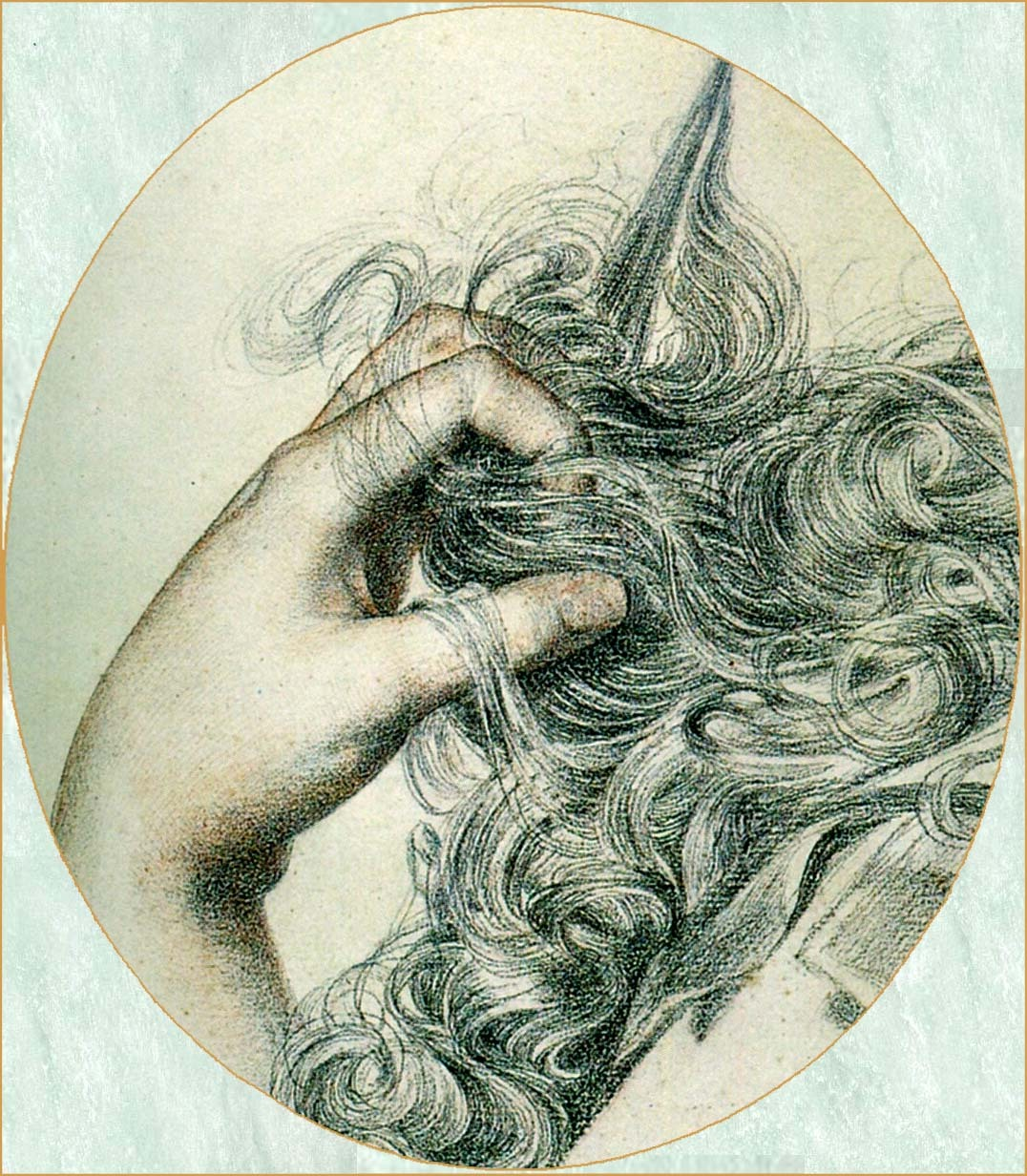 Frederick Sandys: Proud Maisie, 1868, detail, pencil and crayon on paper, Victoria and Albert Museum, London