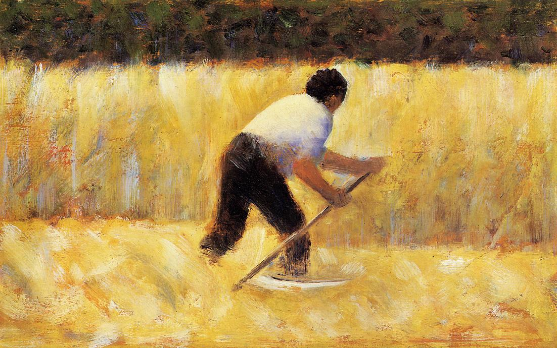 "artist-seurat: "" The Mower via Georges Seurat Size: 16.5x25.1 cm Medium: oil on wood"""