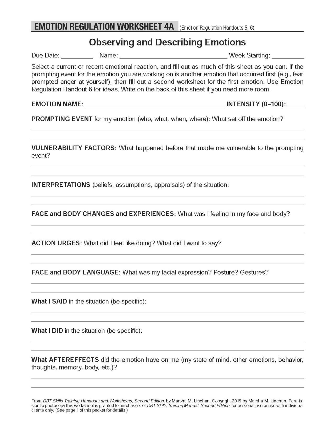 Emotion Regulation Worksheet Worksheets Ratchasima