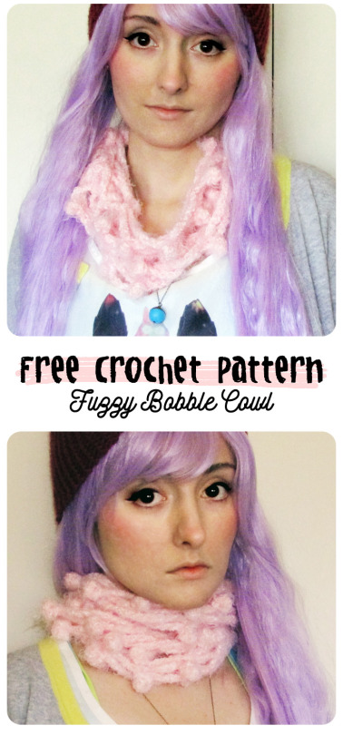 free crochet pattern fuzzy bubble cowl