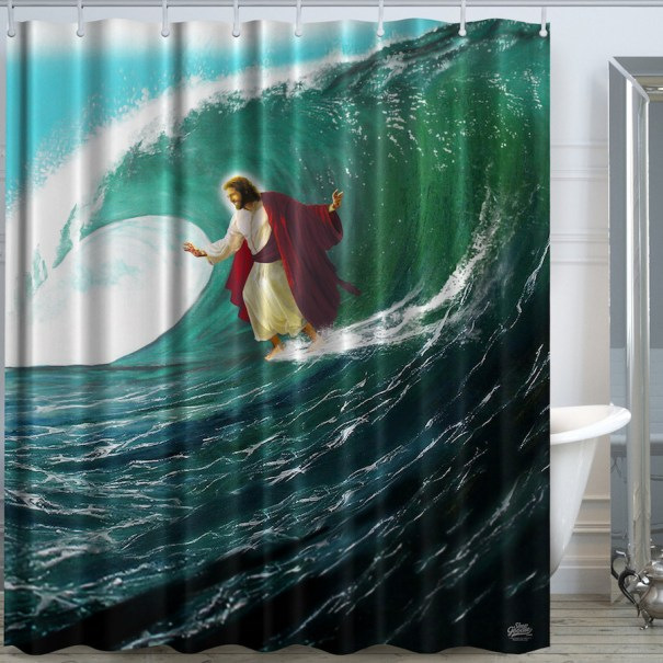 Jesus Appears On Shower Curtains As An Astronaut Satan A Surfer And More For Info Images Visit Dangerous Minds Related Post