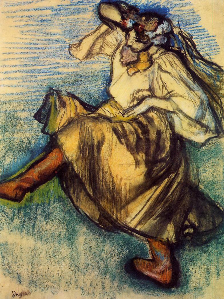 "artist-degas:"" Russian Dancer by Edgar DegasMedium: pastel"""
