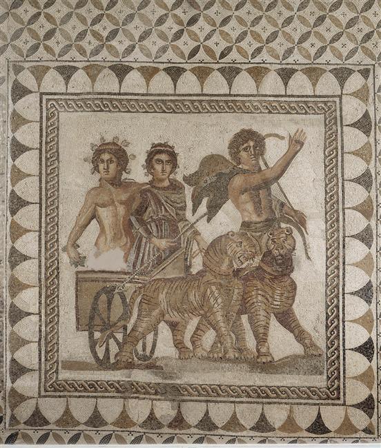 """ancientanimalart: """" Bacchus on his chariot mosaic Espagne, Séville, musée archéologique (via Images D'Art) """""""