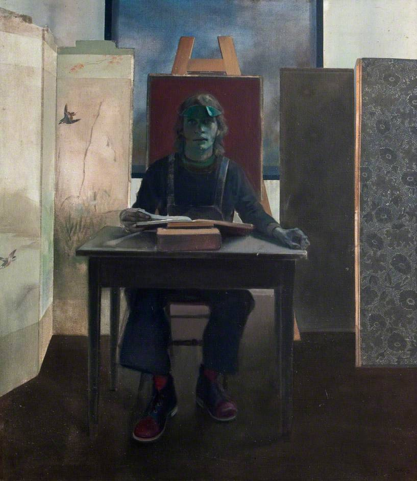 "huariqueje: "" The Reader - David Tindle , 1972 British, b.1932- Oil on canvas, 144 x 126 cm """