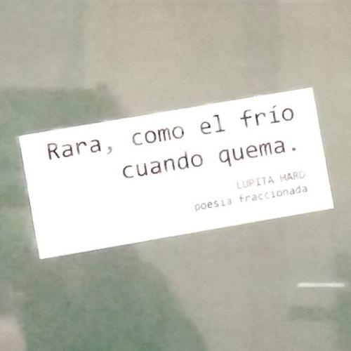 """""""Rara, como el frío cuando quema"""". Lupita Hard,..."""