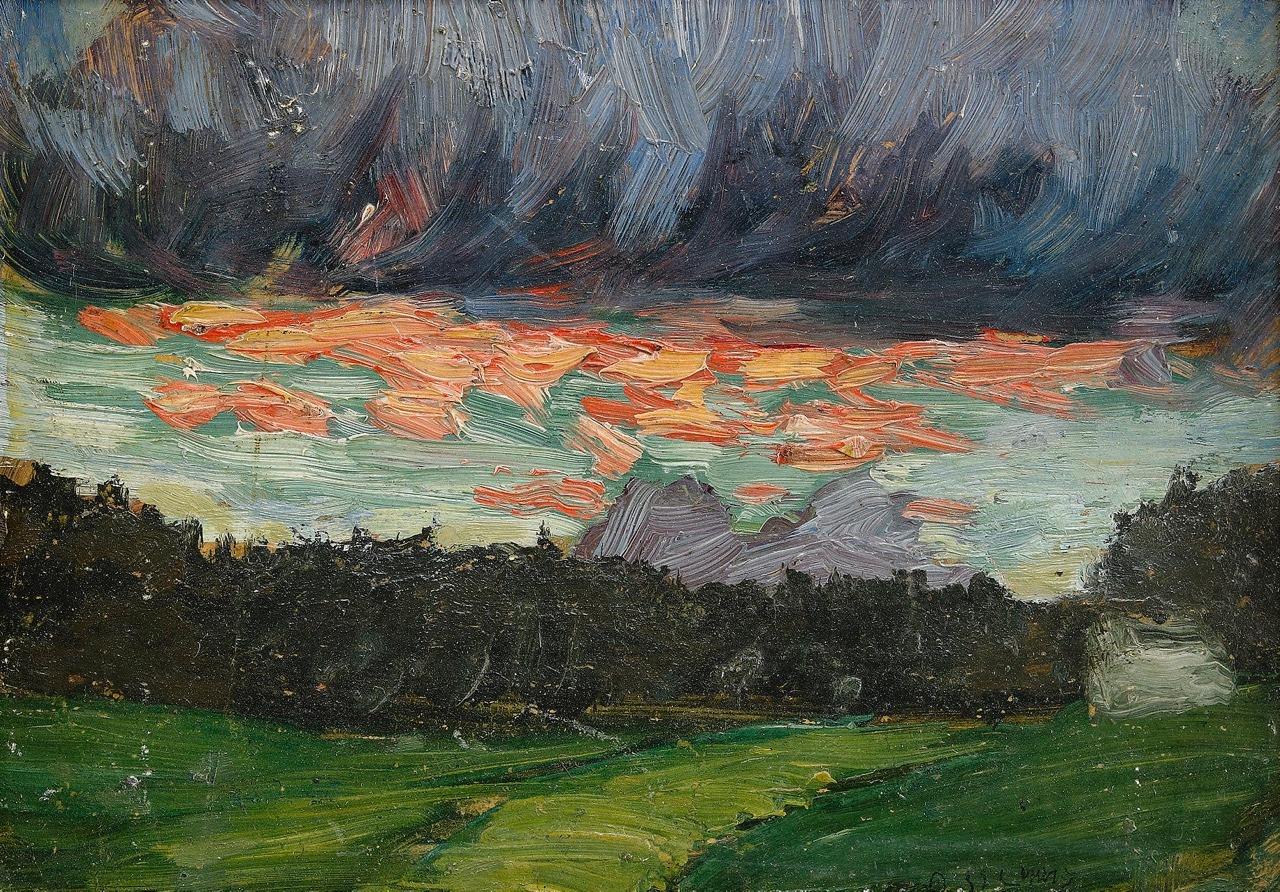 """terminusantequem: """"Helmer Osslund (Swedish, 1866-1938), Oväder nalkas. Oil on paper, 15,5 x 21,5 cm """""""