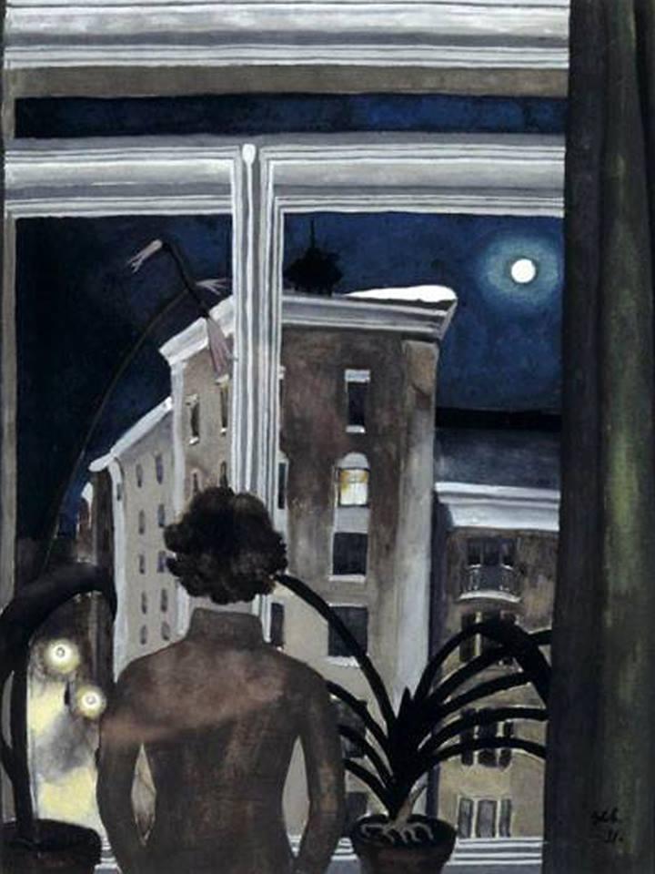"""huariqueje: """" Night - Greta Olga Hällfors-Sipilä , 1931 Finnish , 1899–1974 Watercolour,32 x 24.8 cm. Helsinki Art Museum. """""""