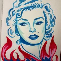"""A little blue marilyn painting tonight as the movie """"interview with a vampire"""" plays. #painting #art #perthcreatives #perthartist #illustration #artworks #artsy #marilynmonroe #watercolorpainting #drawing #watercolor #vintagehollywood"""