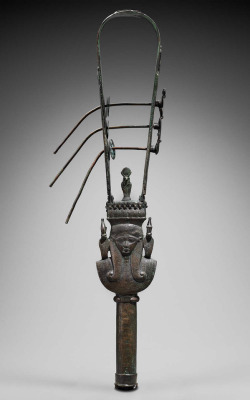 theancientwayoflife:~ Sistrum.Culture: EgyptianPwriod: Late Period, 26th–30th Dynasty Date: 664–332 B.C.Medium: Bronze