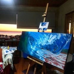 When the sunset upstages your painting. (nearly done!) #studios #artspace #oilpainting #painting #perthcreatives #perthartist #illustration #artworks #artsy #paintings #waves #oceanart #seascape #oceanscene #wip