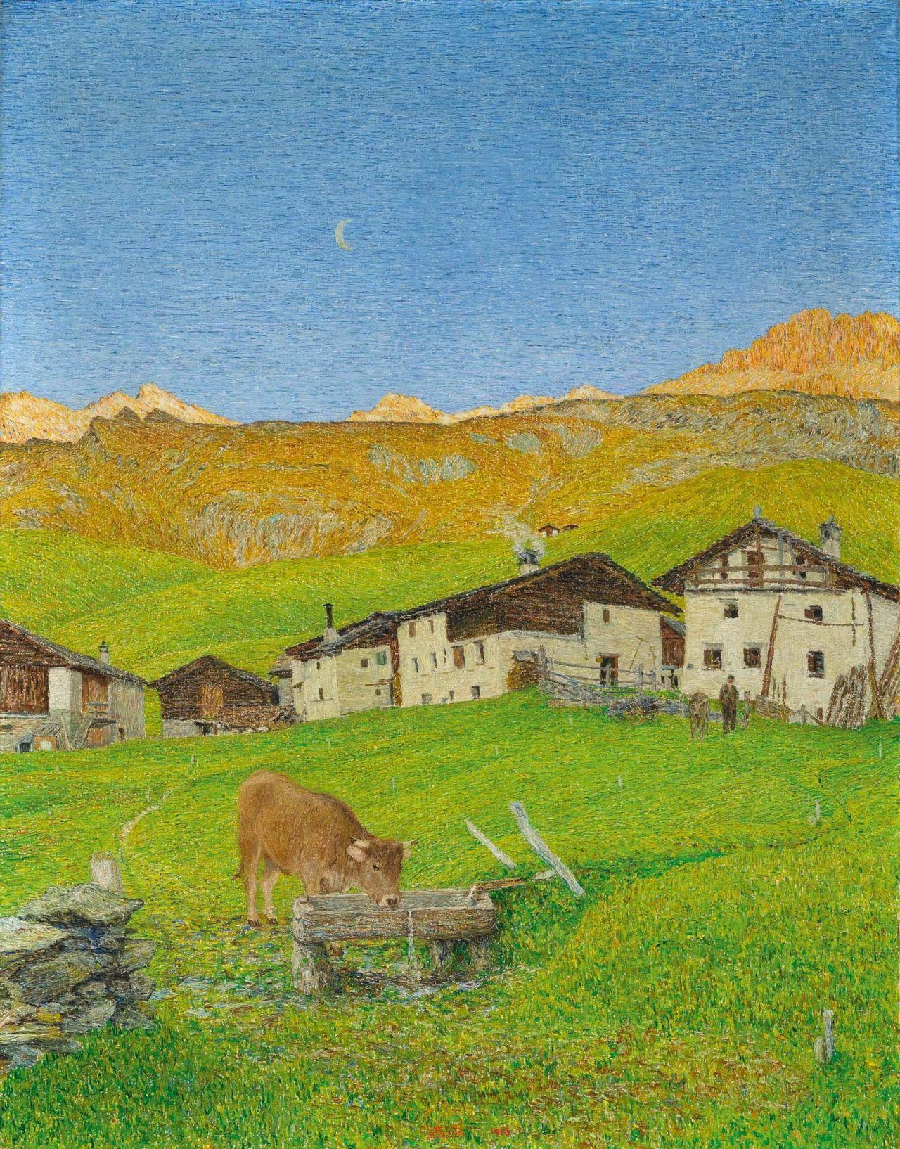 """thunderstruck9: """"Gottardo Segantini (Swiss, 1882-1974), Grevaselvas vor Sonnenaufgang [Grevaselas before sunrise], 1938. Oil on canvas, 110 x 90 cm. """""""
