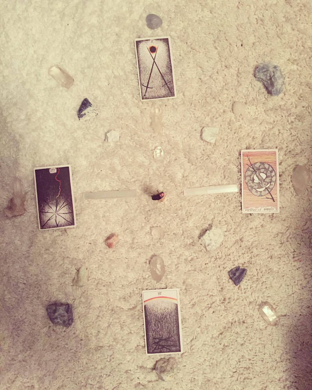 Making magic with my boys tonight. #thepenboys @the_wild_unknown #tarot #crystals #marywrites #palosanto