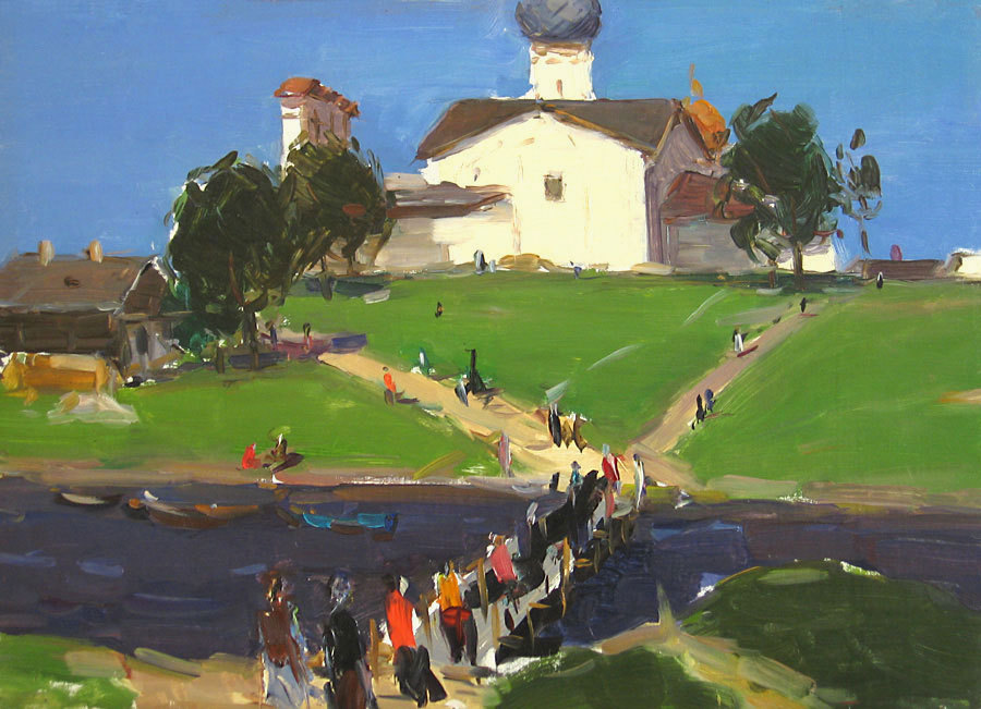 "huariqueje: ""  Pskov. A Little bridge - Semionov Arseny Nikiforovich .1958 Russian, 1911 - 1992 oil on board, 34,5 x 48,5 """