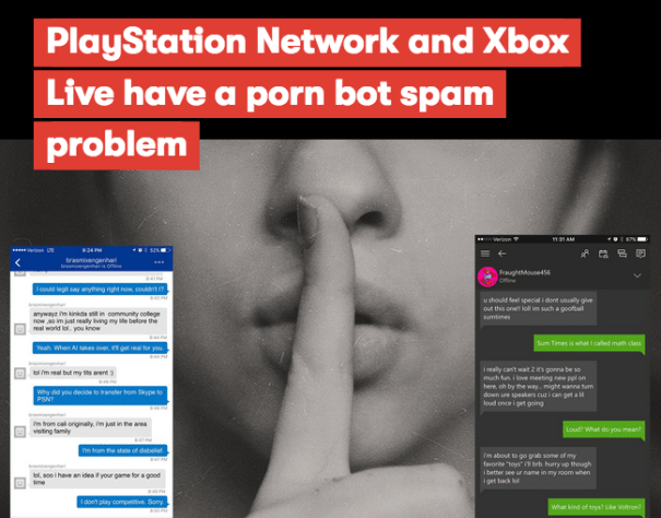 PlayStation Network and Xbox Live have a porn bot spam