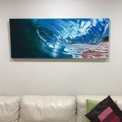 "Delivered this painting last night, and here she is, ""The glass tunnel"" finally hanging in its new home. #art #artshow #perthpop #perthstagram #colour #artistsofinstagram #paintings #oilpainting #perthcreatives #perthartist #artworks #seascape #oceanscene #waves #waveart"