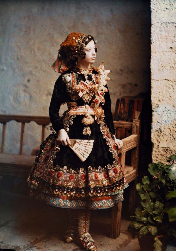 676615acc834a Stunning Autochrome photos of women posing in their traditional costumes  around the world in the 1920s and 1930s.