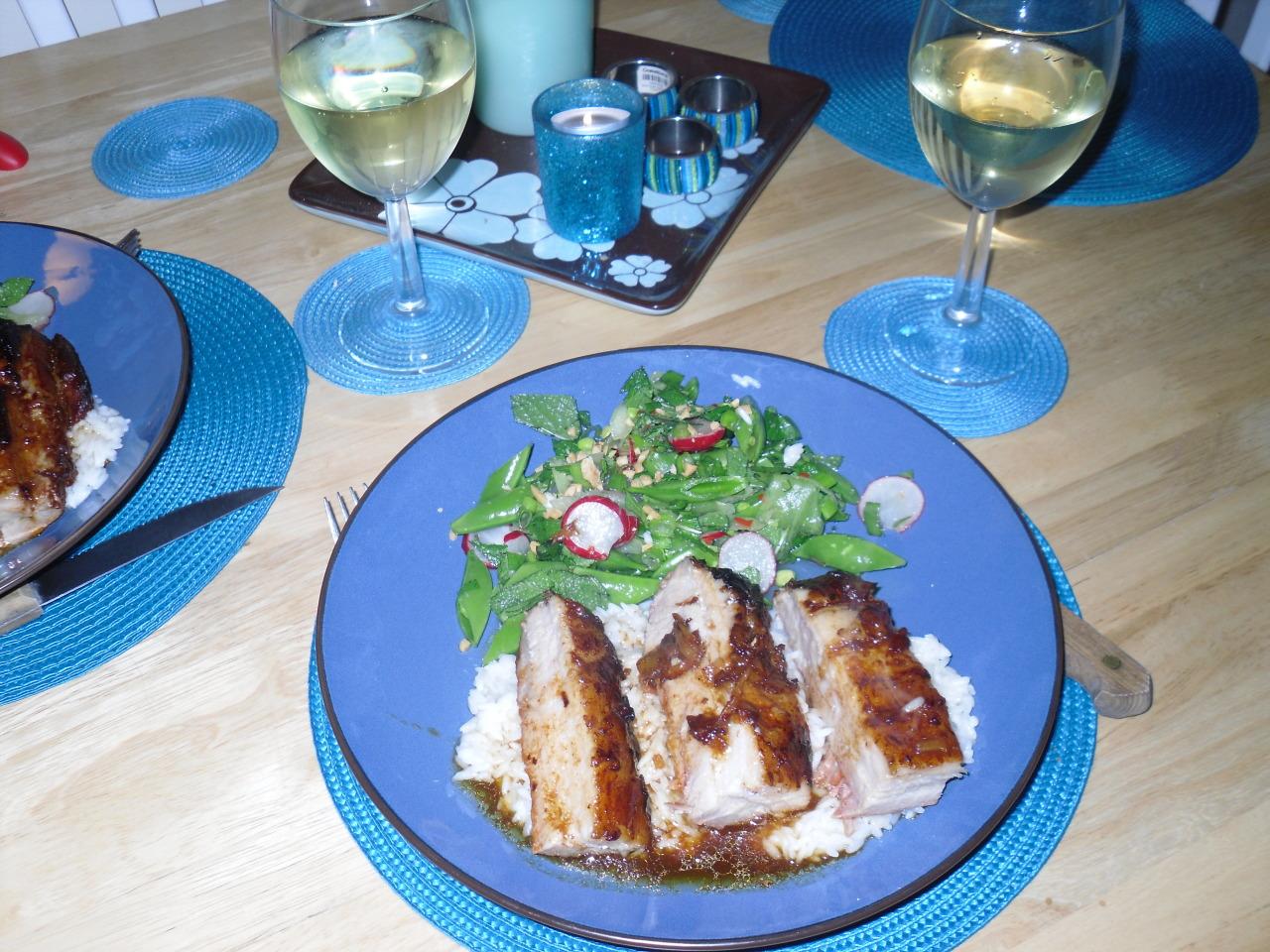 Sticky pork belly with Vietnamese-style salad & smashed peanuts Cooking time Prep: 20 mins Cook: 2 hrs, 25 mins plus 4 hrs marinating Servings Serves 2 Ingredients • 600g pork belly • 6 tbsp hoisin sauce • 3 tbsp clear honey • 3 tbsp rice vinegar • 3...