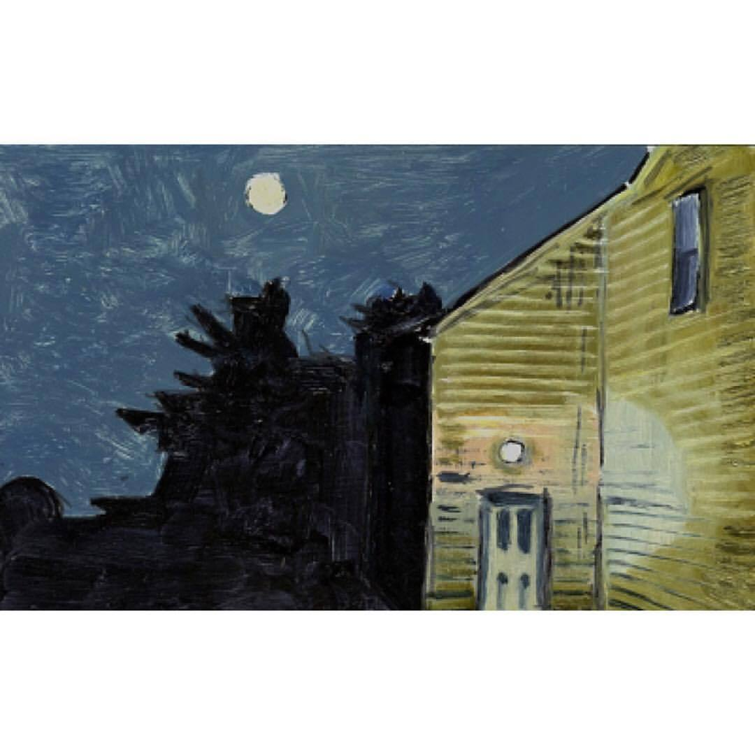 "verylargebuildings: ""Lois Dodd; Moon and House Light, 2013, oil on aluminum flashing, 5 x 7 inches """