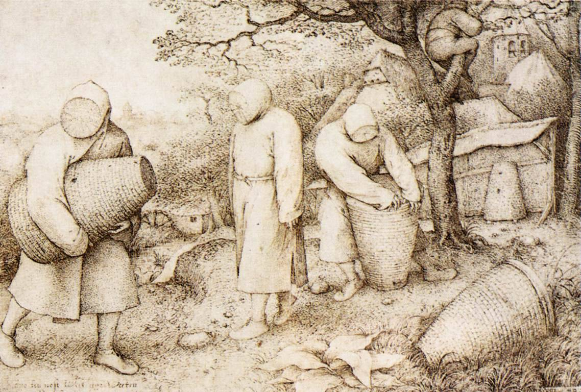 "artist-bruegel: "" The Beekeepers and the Birdnester, 1568, Pieter Bruegel the Elder Size: 30x22 cm Medium: ink, paper"""