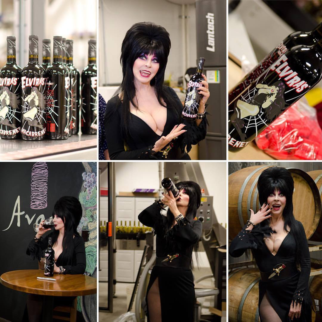 It's #internationalwineday !! 🍷🍷🍷👍🏻💀 #elvira #mistressofthedark #cassandrapeterson #elvirasmacabrenet #sortthisoitcellars