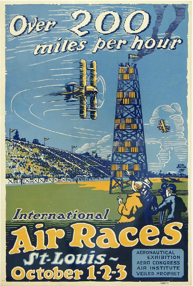 International Air Races poster - Saint Louis, Missouri U.S.A. - October 1, 2, and 3, 1923 - Design: Carl Walter