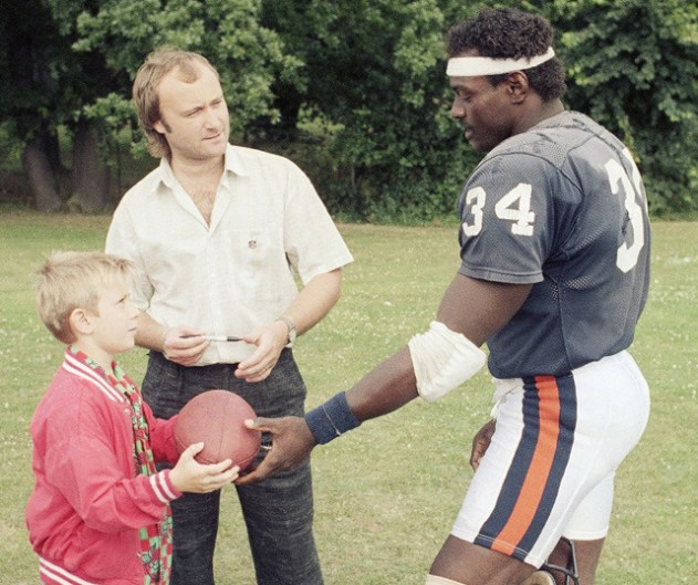 Phil Collins and son with Walter Payton