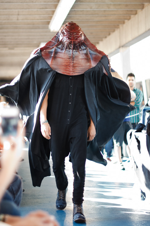 Backstage and on the runway at Asher Levine S/S 2013 collection. A wonderfully frightening show.