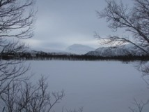 Snow covered Lake at the top of the Island