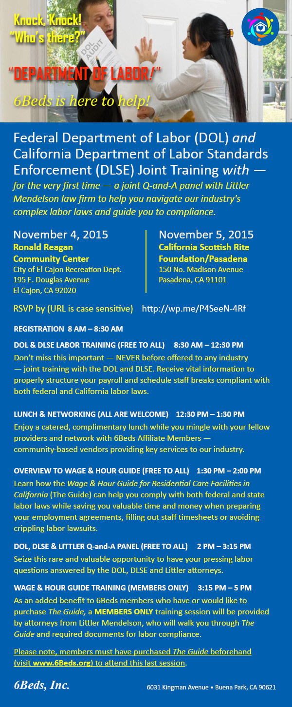 Nov 4/5, 2015 SoCal Joint Training — US Department of Labor (DOL) & California Department of Labor Standards Enforcement (DLSE) — with Littler Mendelson Law Firm