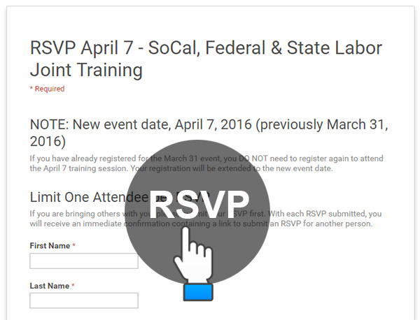 RSVP April 7 - DLSE & DOL Joint Training