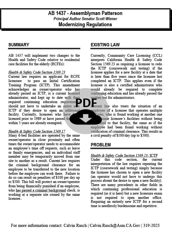 AB 1437 - Modernizing Regulations