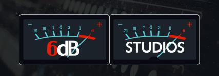 6dB Studios Ltd logo banner, VU Meter design