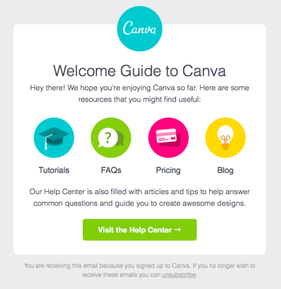 a welcome email example from Canva
