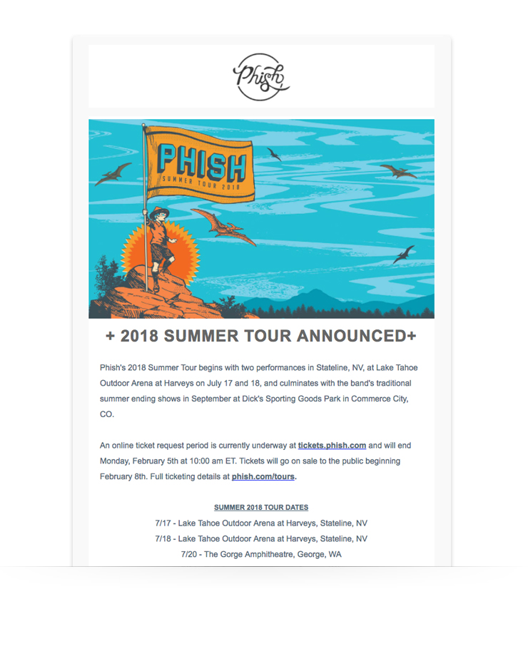 email newsletter example from the bank Phish announcing a summer tour