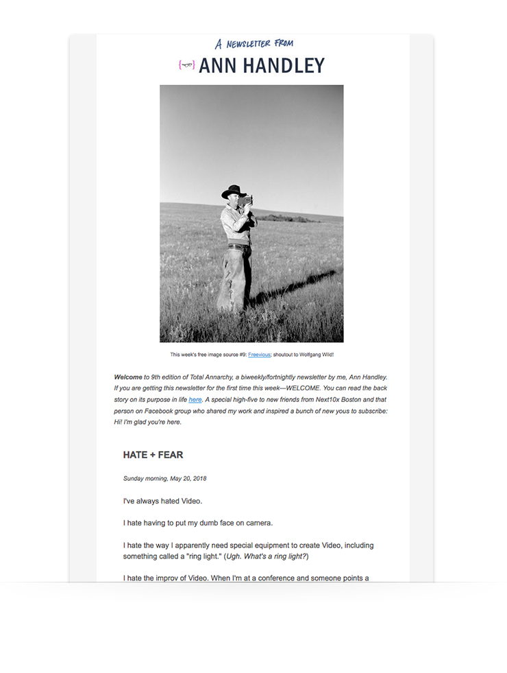 email newsletter example from Ann Handley