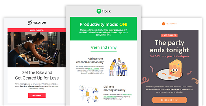 three different newsletter samples from Peloton, Flock and Headspace