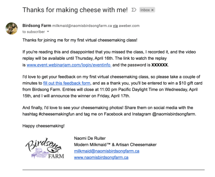 Thank you for making cheese with me email.