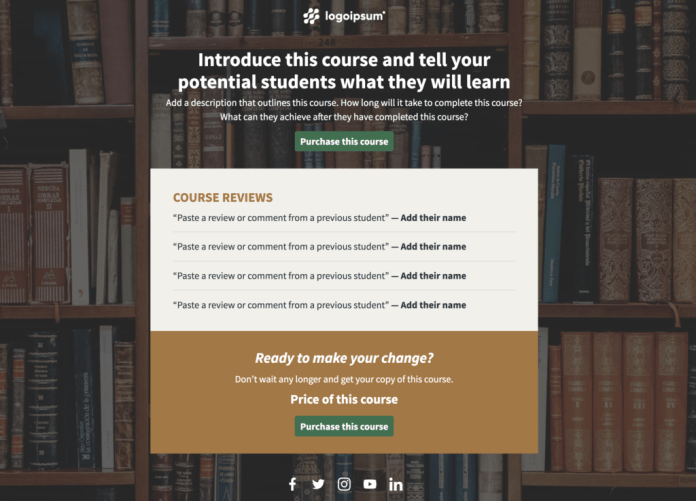 Landing page for selling an online course.