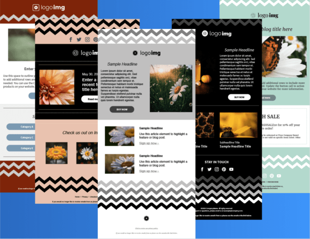 Examples of the Daisy template with bold zig-zag patterns
