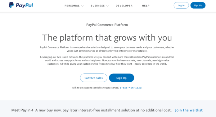 PayPal ecommerce integration landing page