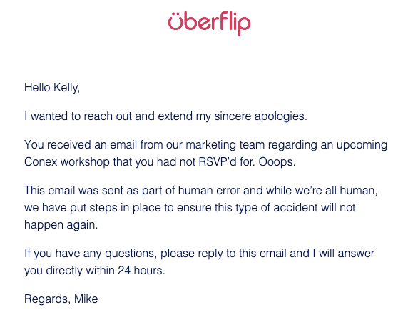 e-mail d'excuses uberflip