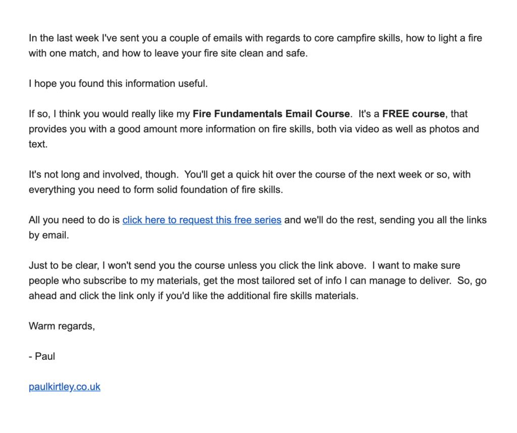 Email sample for a free mini course